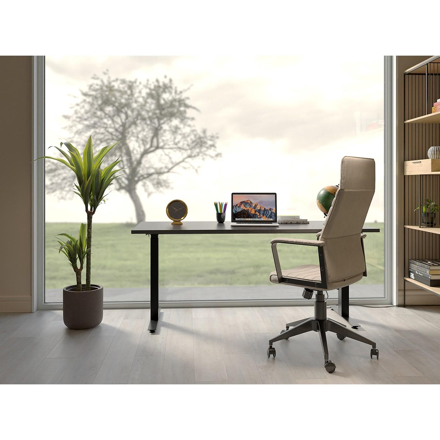Chaise de bureau pivotante réglable à roulettes taupe haute