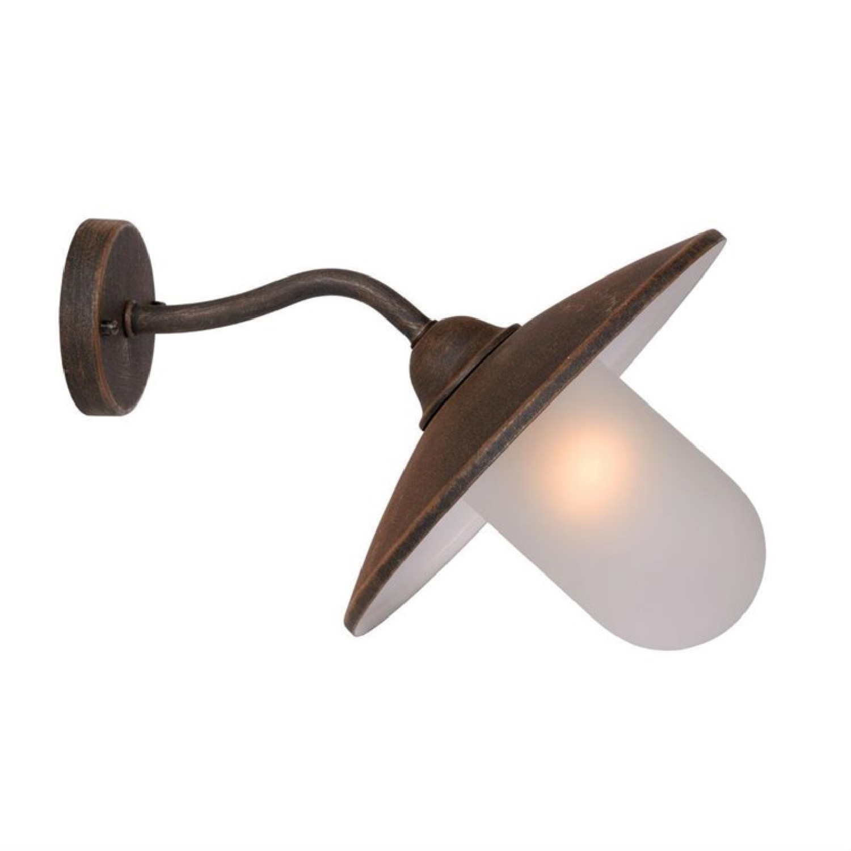 Applique d'extérieur col de cygne métal et verre sablé H24cm