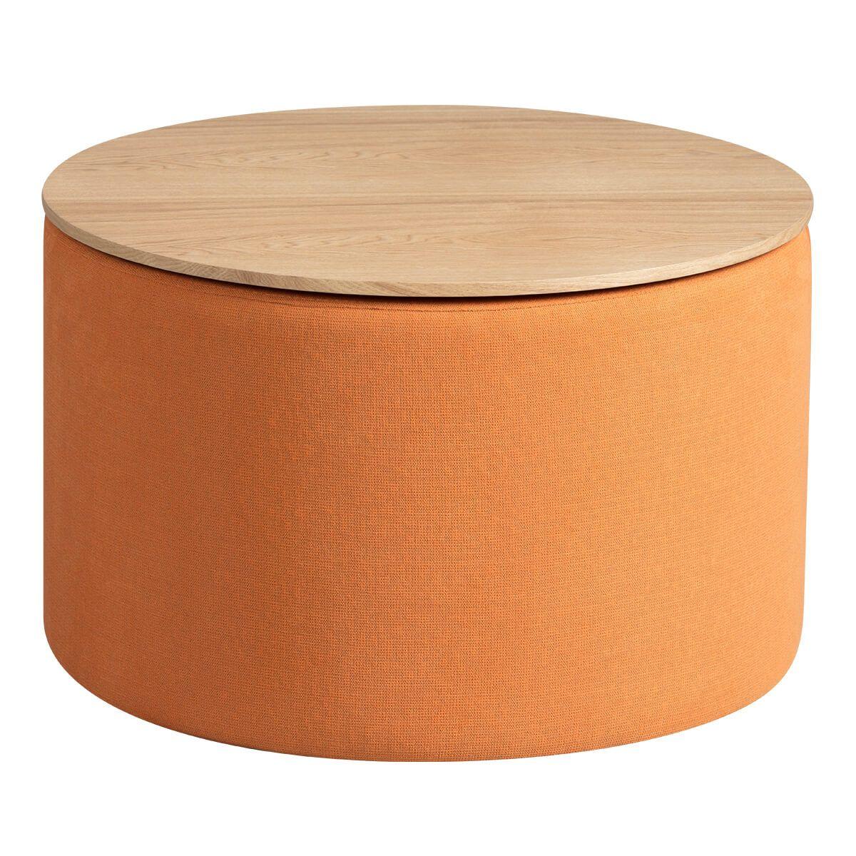 Bout  de canapé avec coffre tissu orange