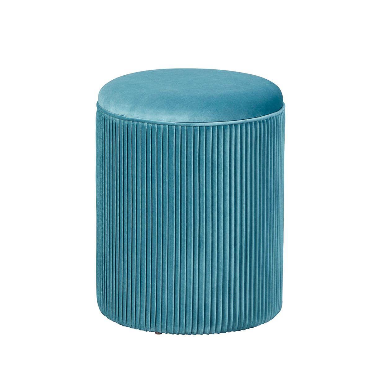 Pouf avec Coffre de Rangement Bleu