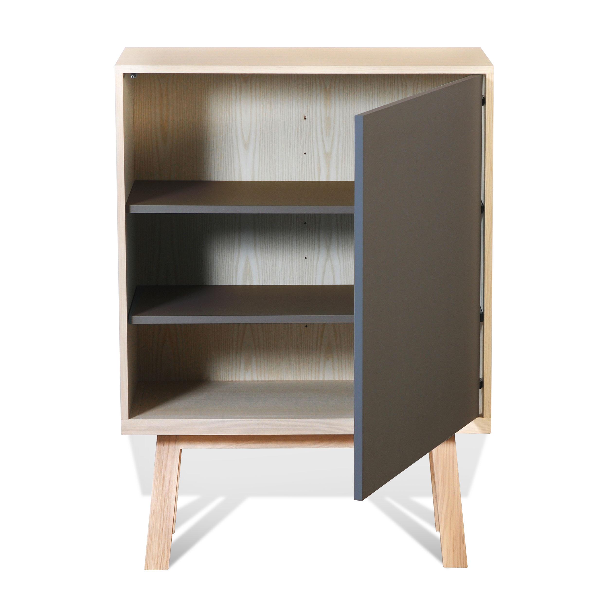 Armoire 1 porte en bois gris chocolat tanis (photo)
