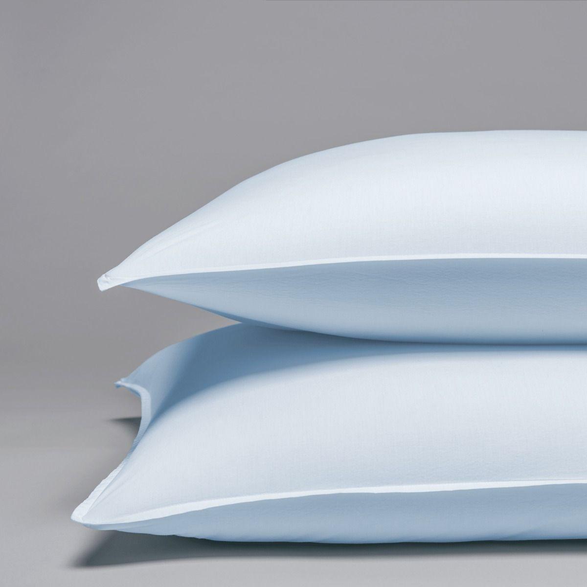 Taie d'oreiller percale lavée de coton peigné 120 fils 65x65