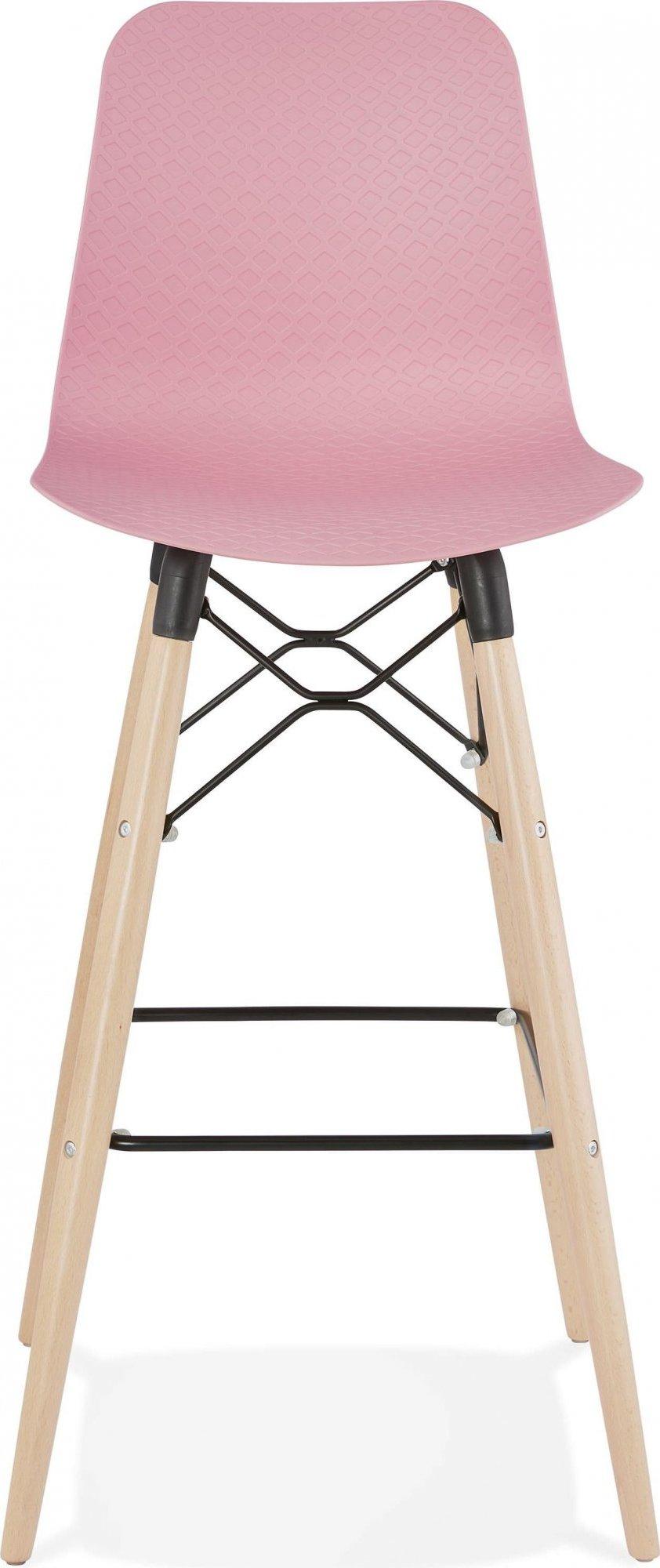 Tabouret de bar rose et bois naturel h112cm