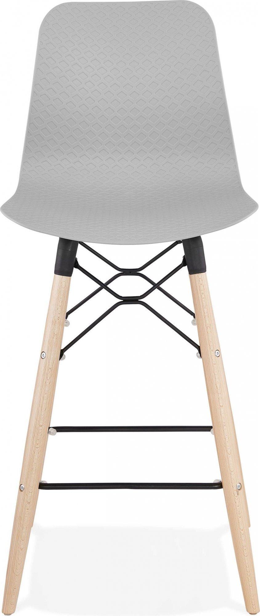 Tabouret de bar gris et bois naturel h108cm