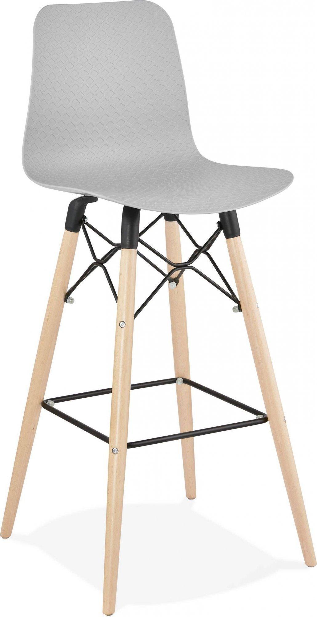 Tabouret de bar gris et bois naturel h112cm