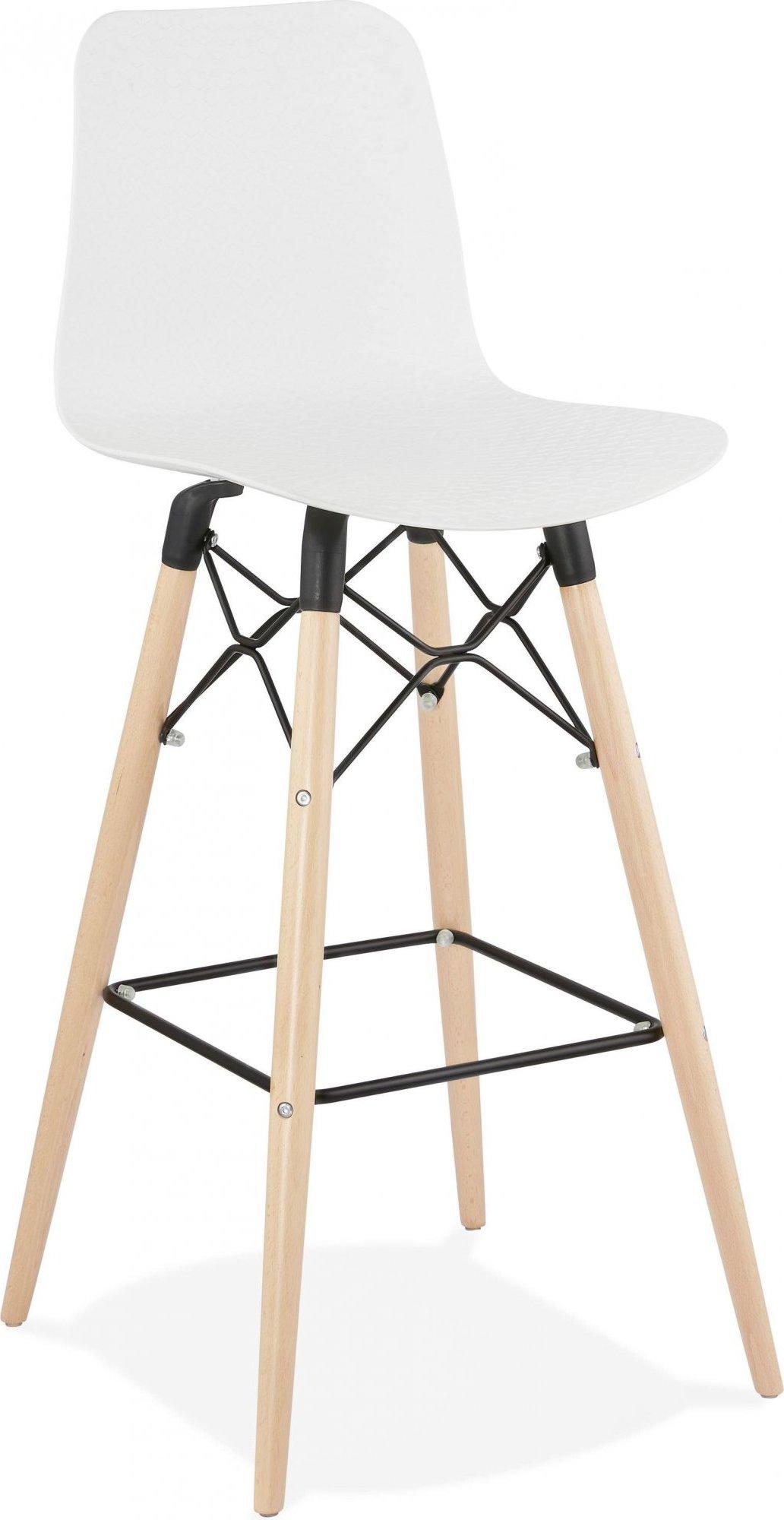 Tabouret de bar blanc et bois naturel h112cm