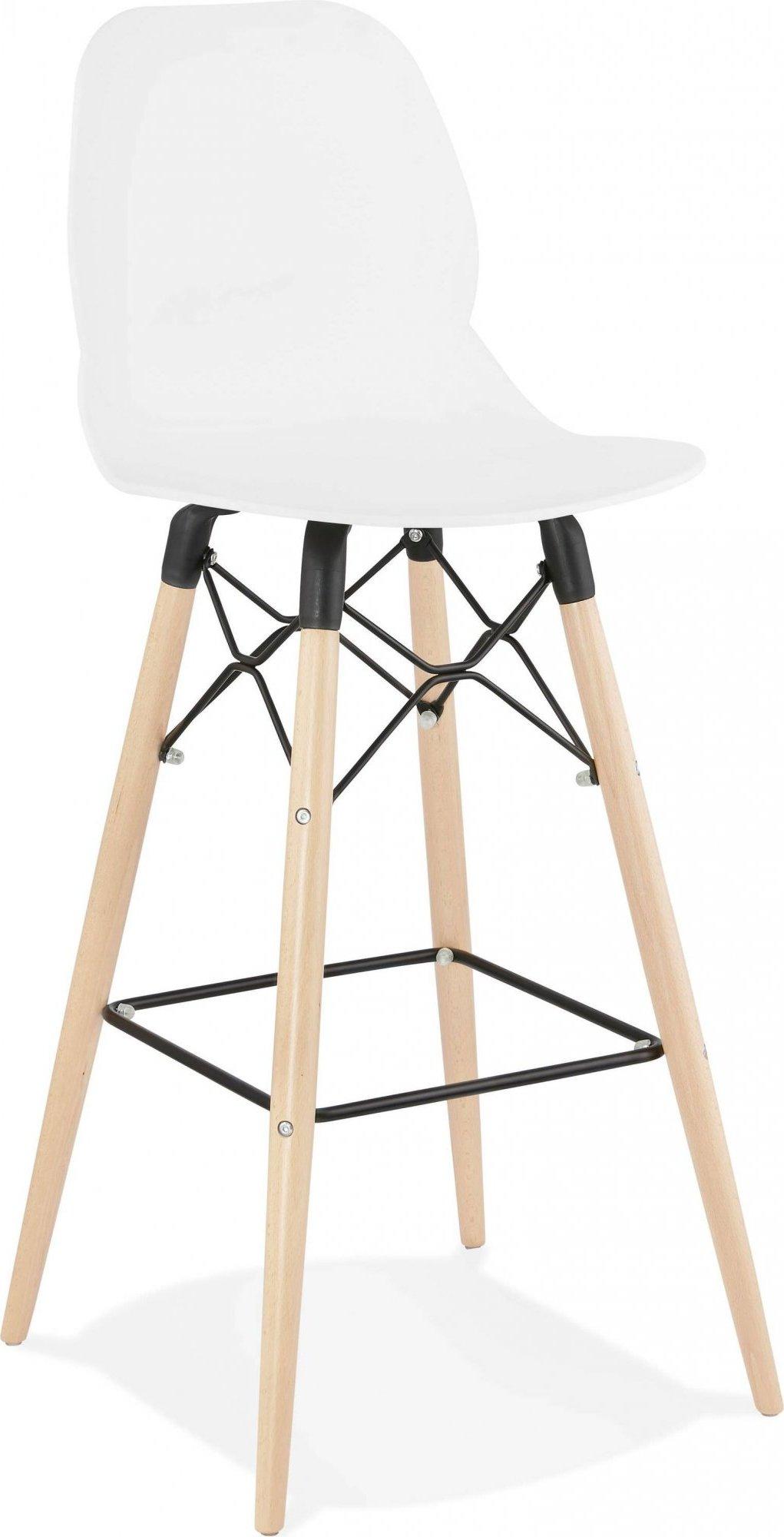 Tabouret de bar blanc pieds bois et métal h111cm