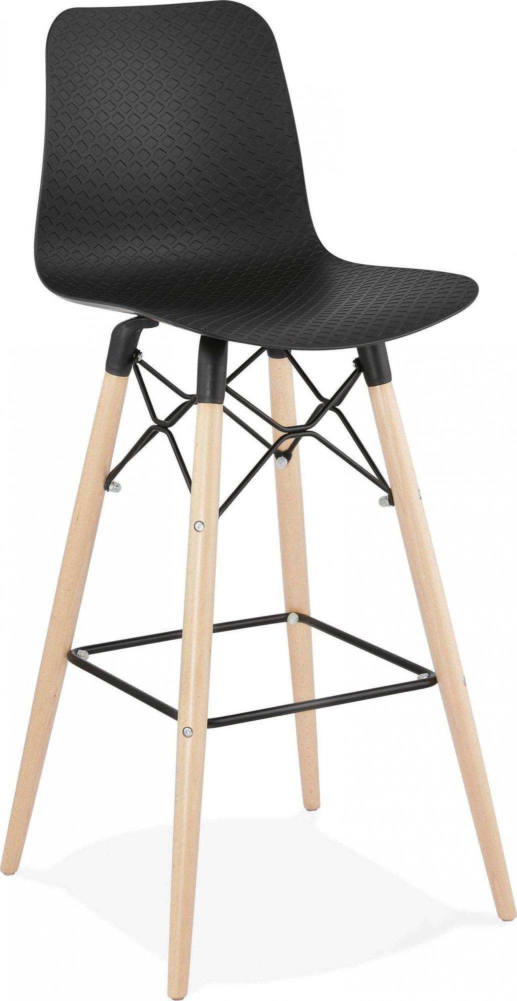 Tabouret de bar scandinave noir pieds bois clair