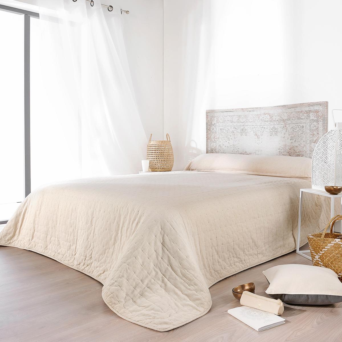 Jeté de lit naturel coton beige 260x240