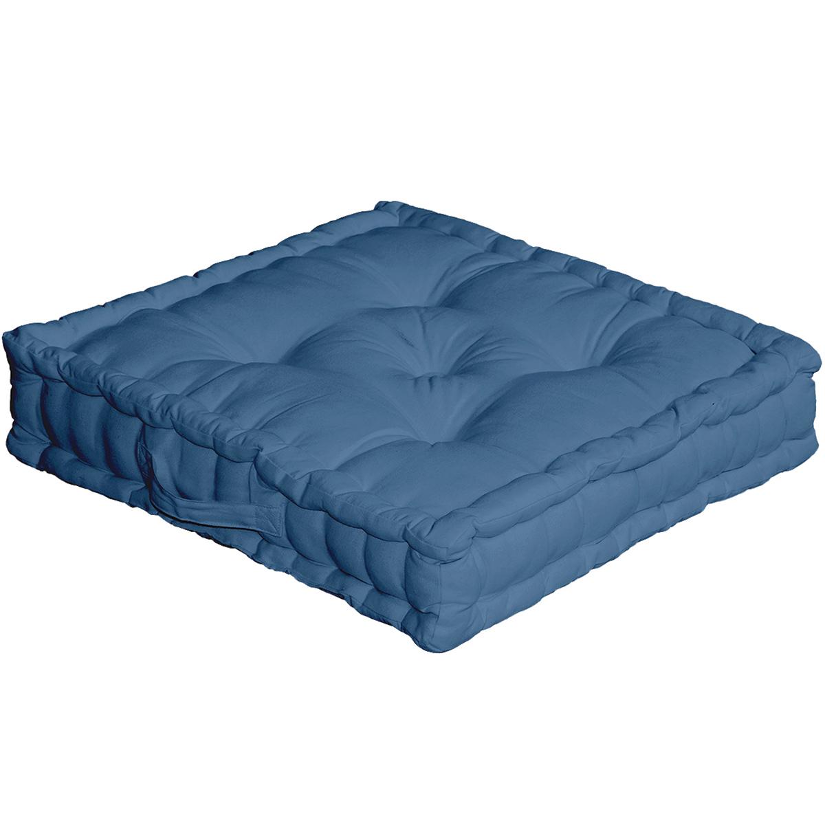 Coussin de sol uni en pur coton coton bleu sud 50x50