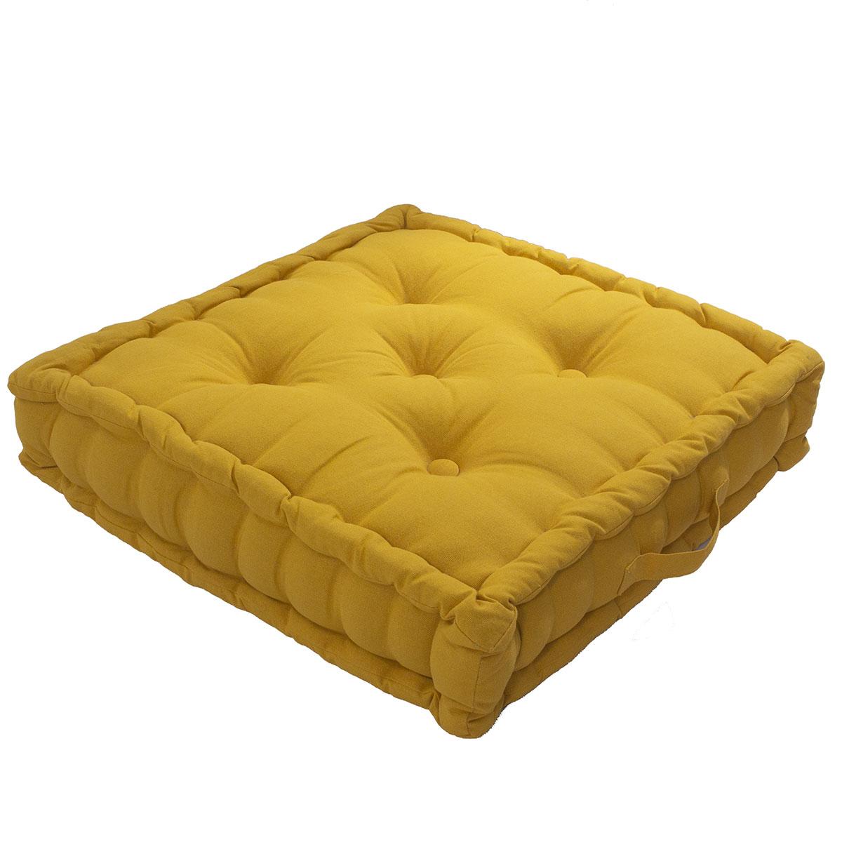 Coussin de sol uni en pur coton coton moutarde 50x50