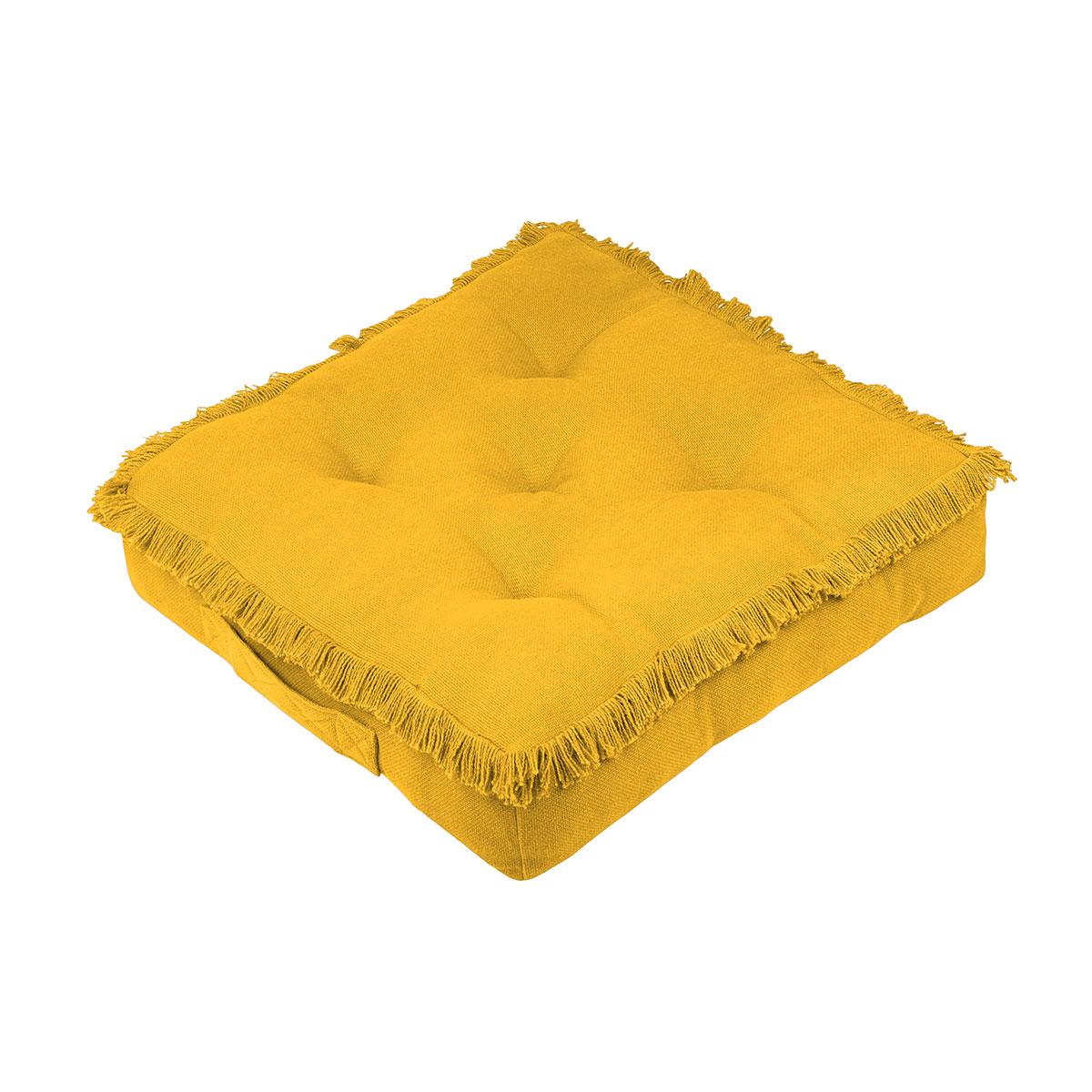 Coussin de sol frangé moutarde coton moutarde 45x45