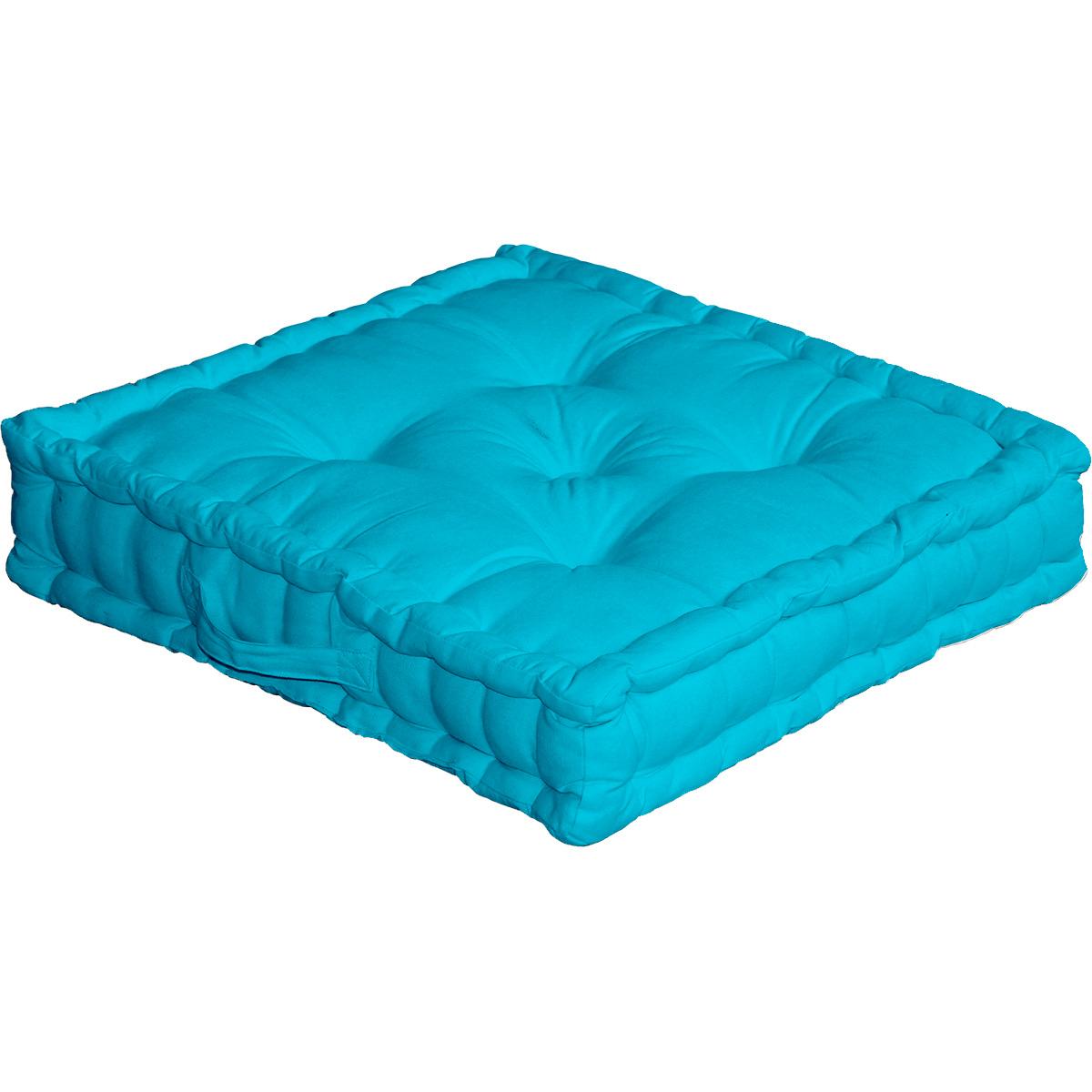 Coussin de sol uni en pur coton coton turquoise 50x50