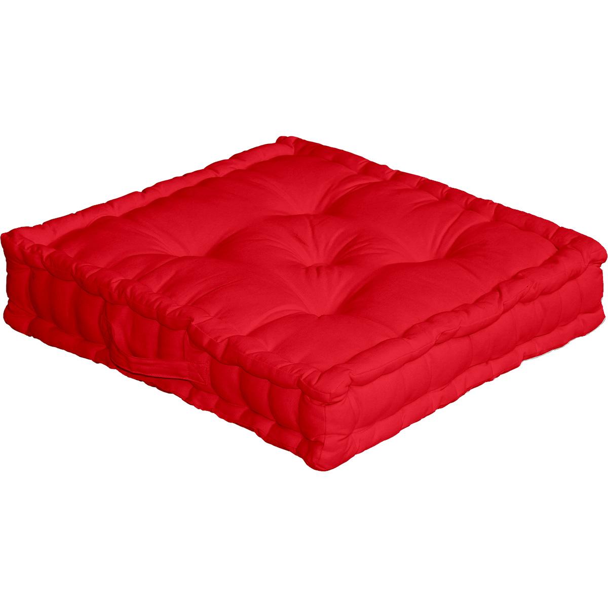 Coussin de sol uni en pur coton coton rouge 50x50