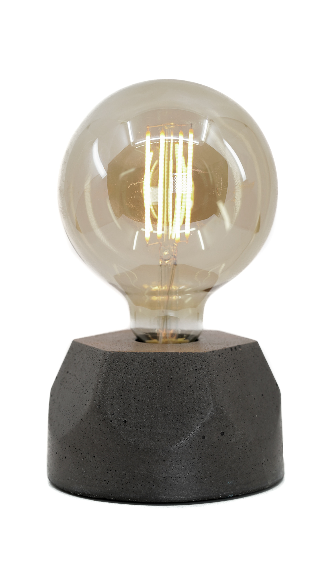 Lampe hexagone en béton anthracite fabrication artisanale