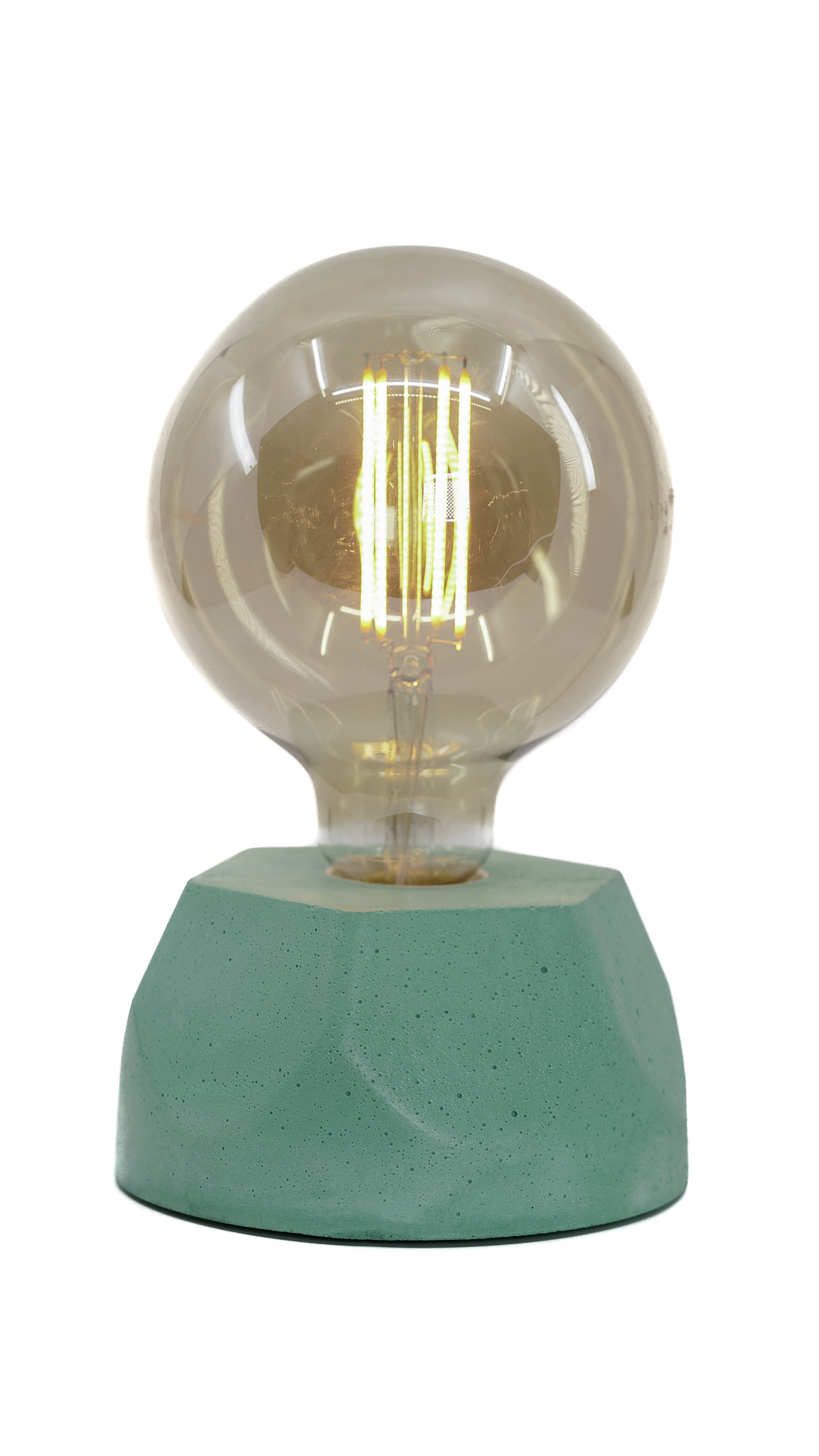 Lampe hexagone en béton turquoise fabrication artisanale