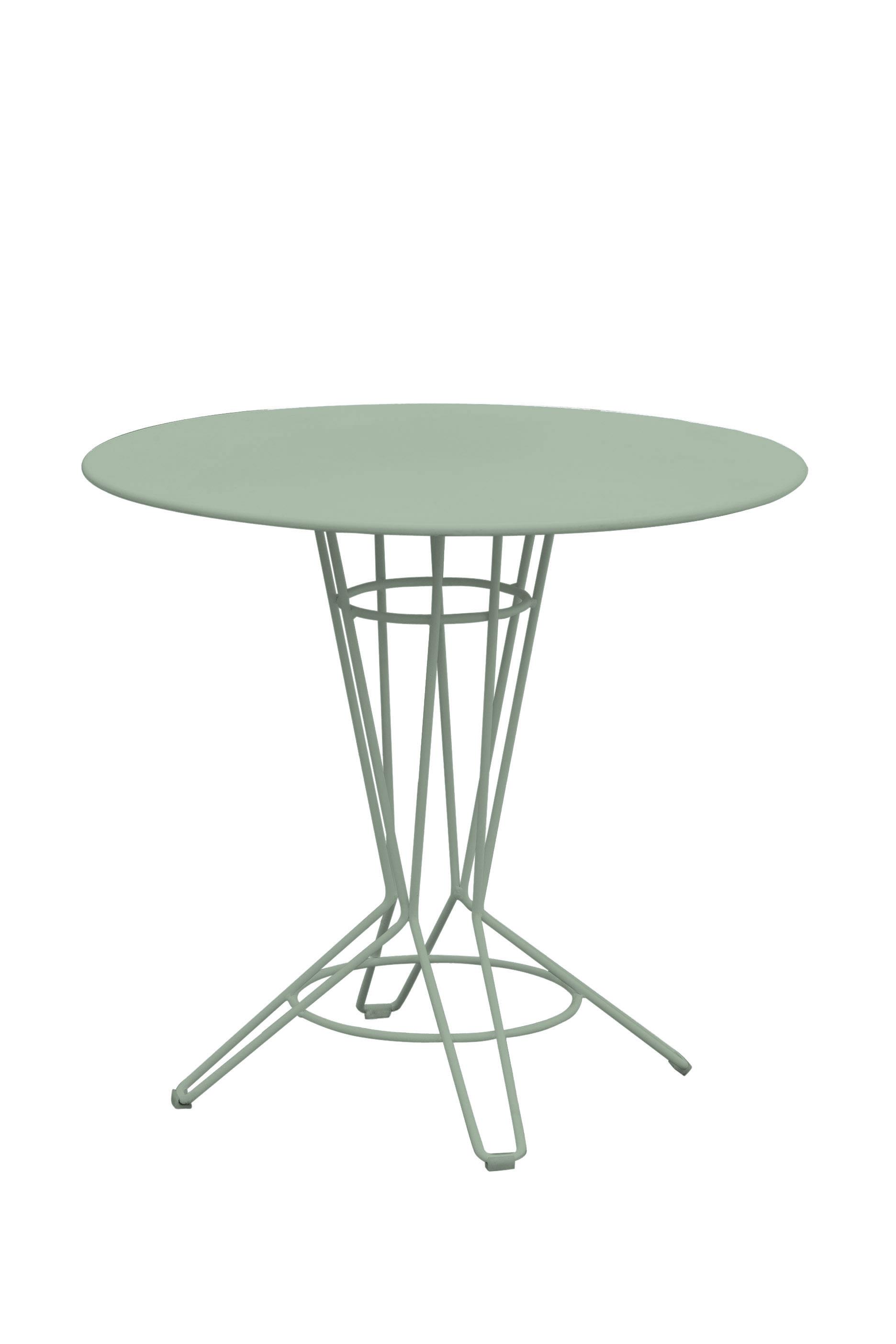 NOSTRUM - Table rond en acier vert pastel D80