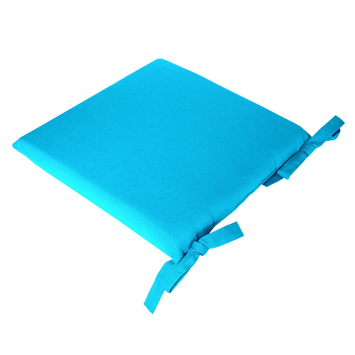 Galette de chaise uni en pur coton coton turquoise 38x38
