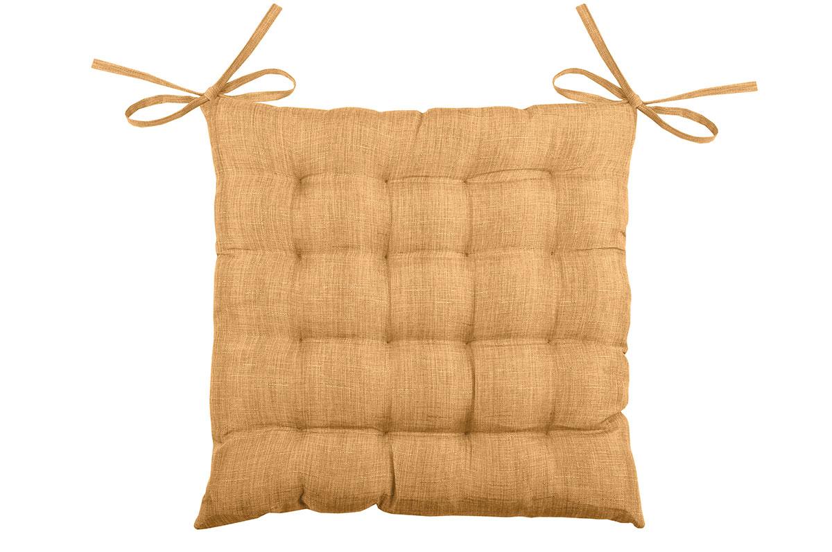 Galette de chaise unie en 16 points polyester camel 40x40