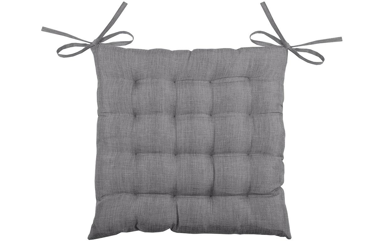 Galette de chaise unie en 16 points polyester anthracite 40x40