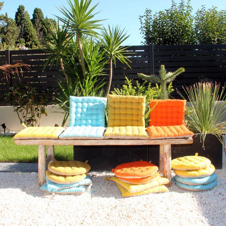 Galette de chaise en 100% coton orange 40x40