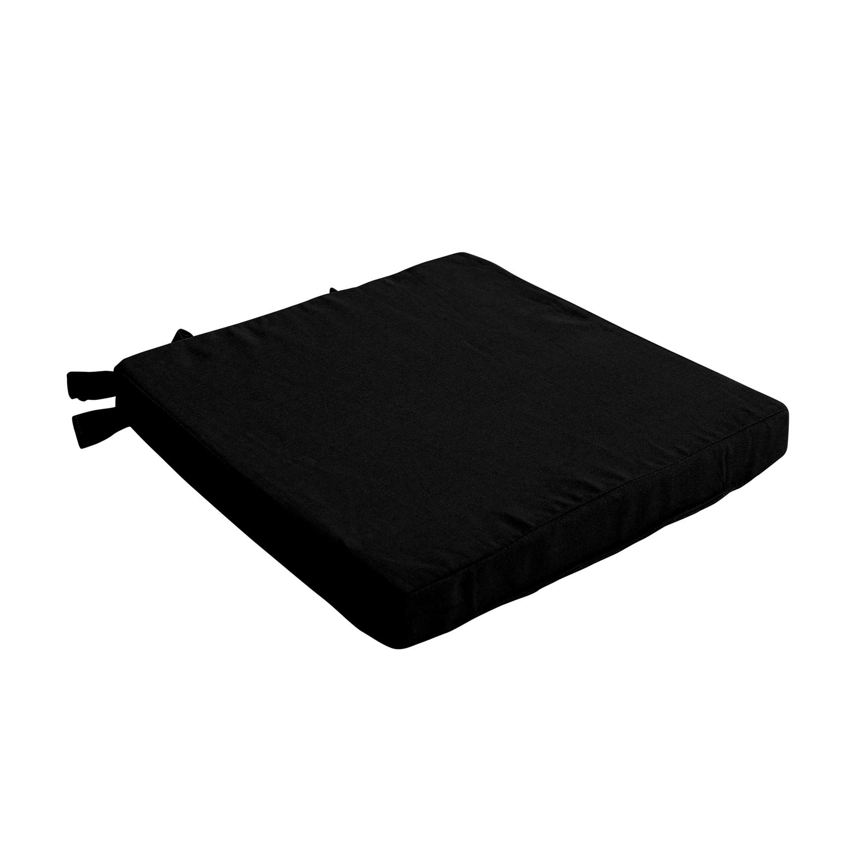 Galette de chaise uni en pur coton coton noir 38x38