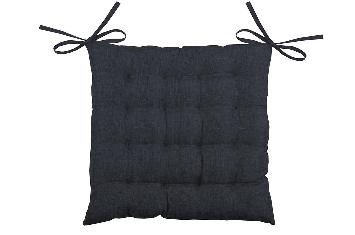 Galette de chaise unie en 16 points polyester charbon 40x40