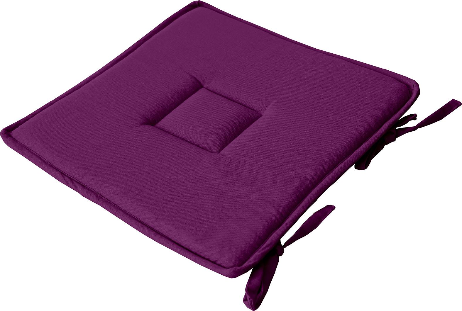 Galette plate unie en coton passepoil et nouettes coton violet 40x40