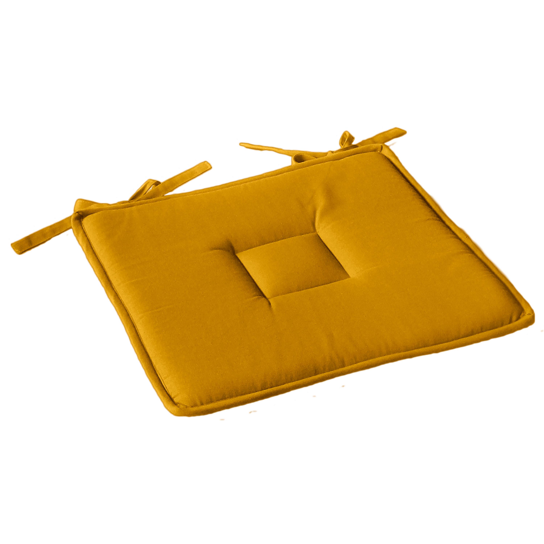 Galette plate unie en coton passepoil et nouettes coton moutarde 40x40