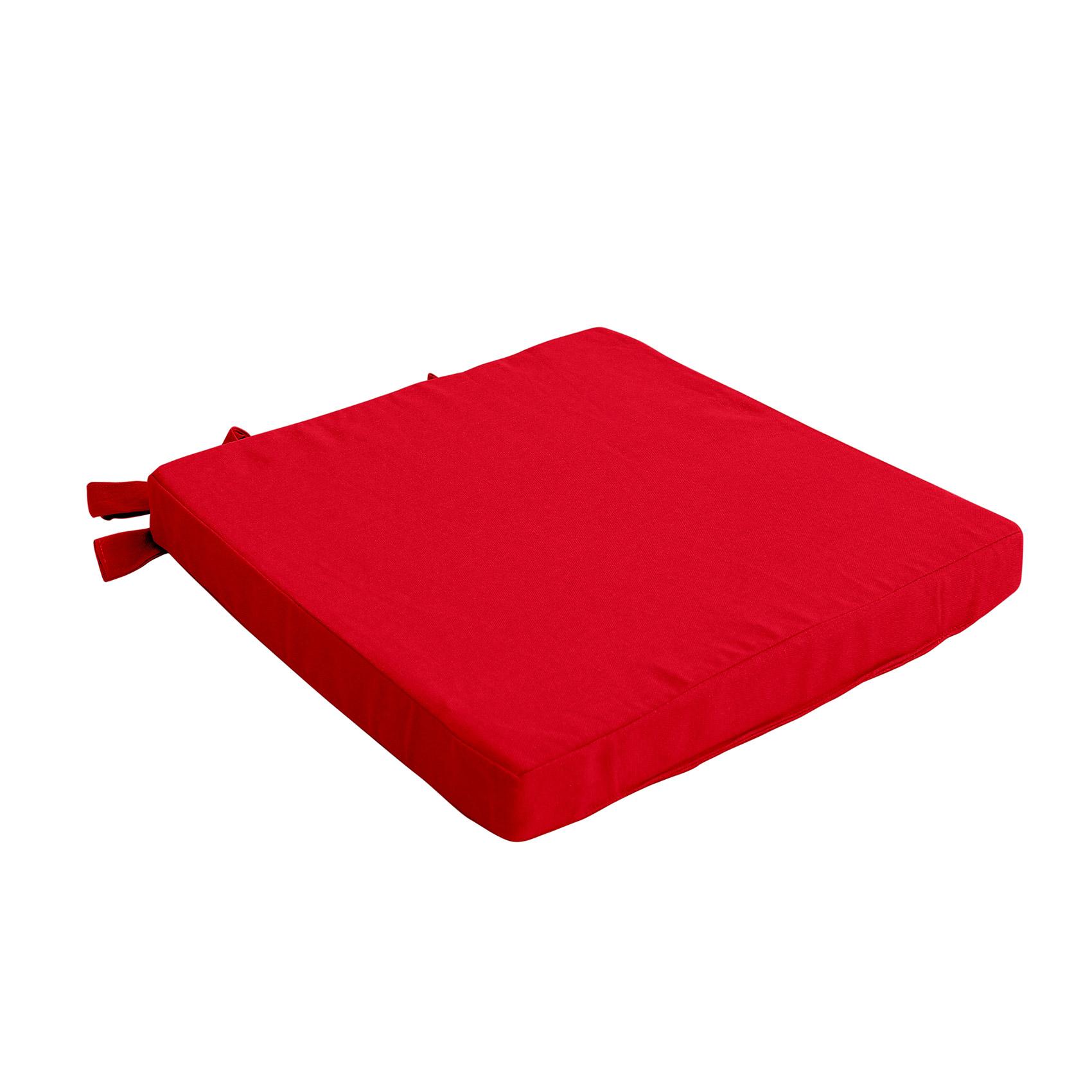 Galette de chaise uni en pur coton coton rouge 38x38