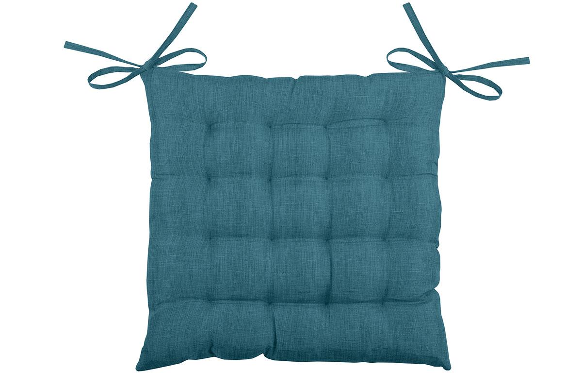 Galette de chaise unie en 16 points polyester turquoise 40x40
