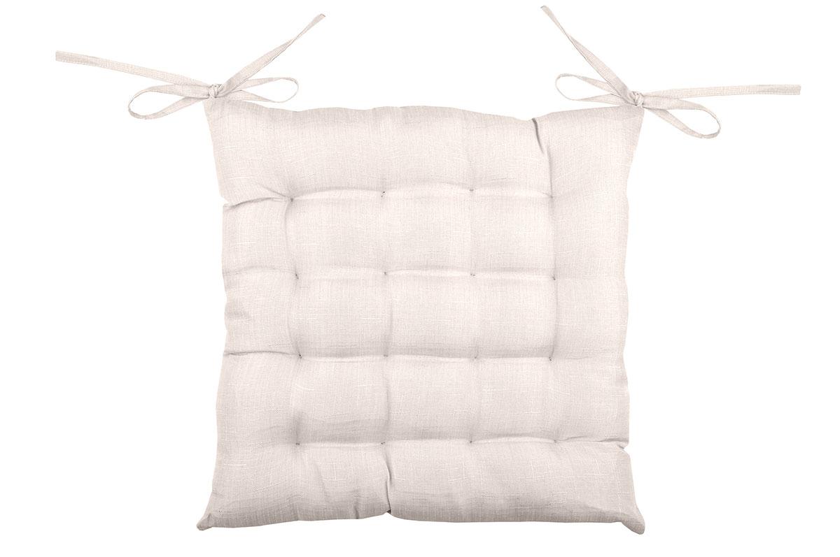 Galette de chaise unie en 16 points polyester lin 40x40