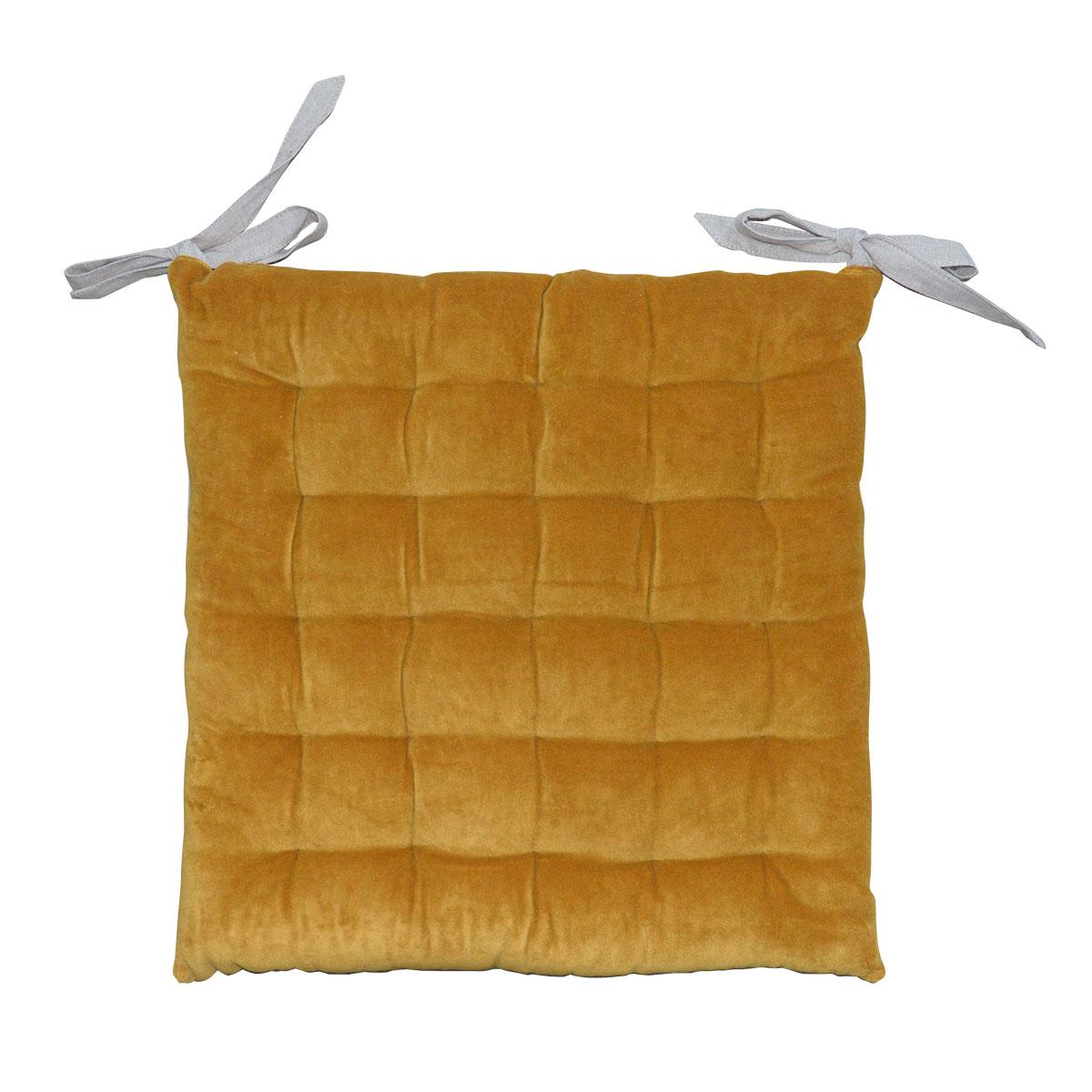 Galette de chaise à effet velours coton gold 40x40