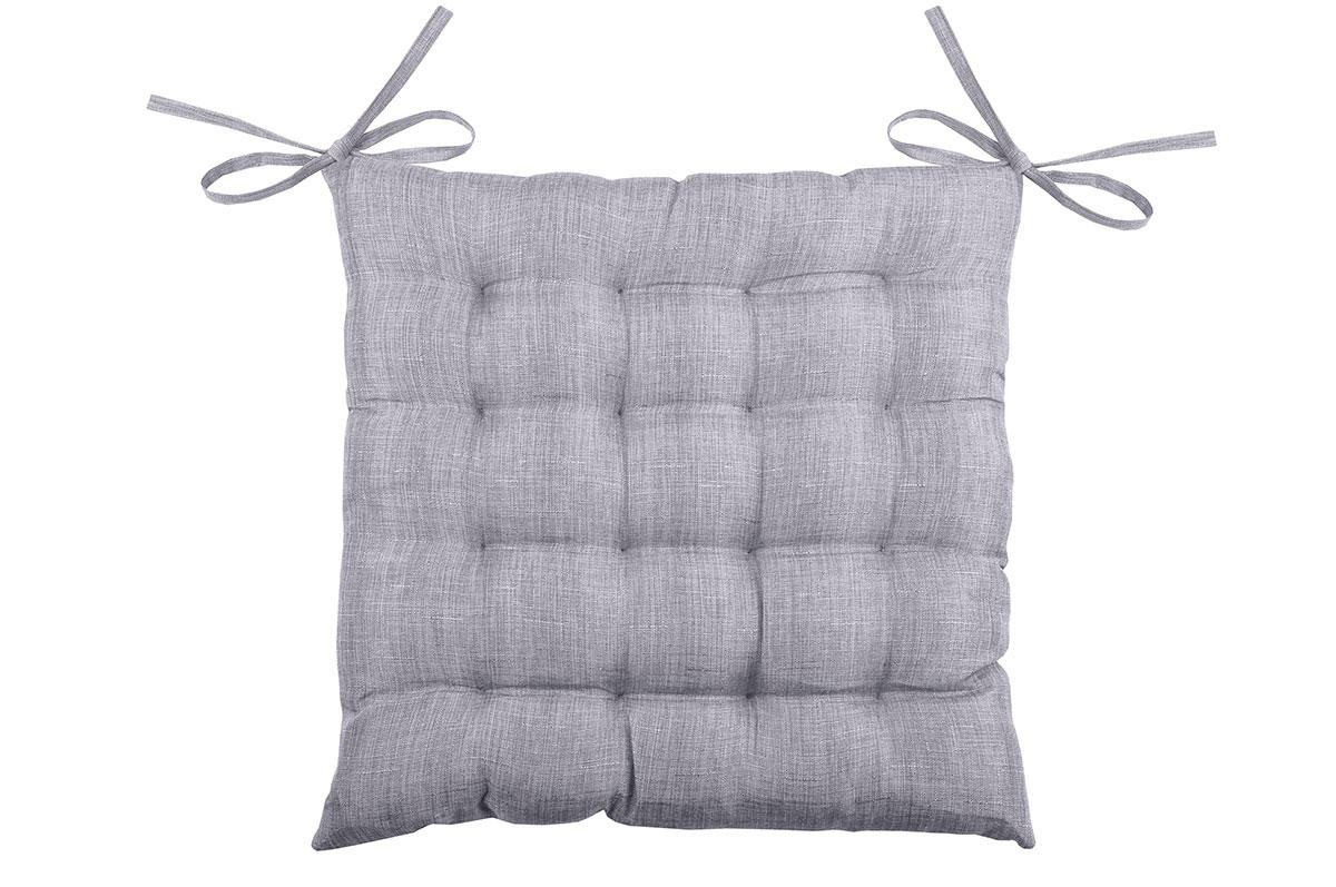 Galette de chaise unie en 16 points polyester gris 40x40