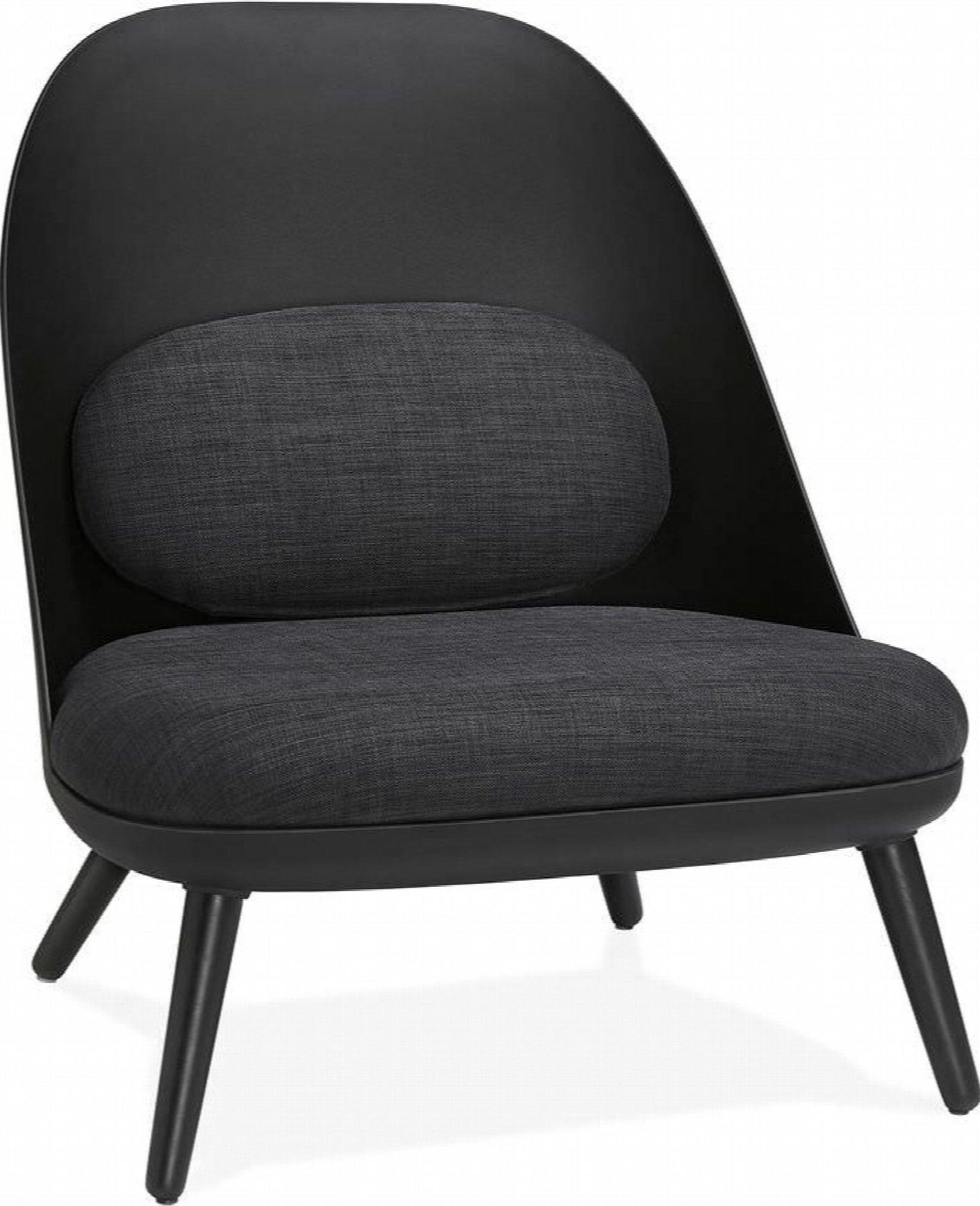 Fauteuil design scandinave large rembourré noir