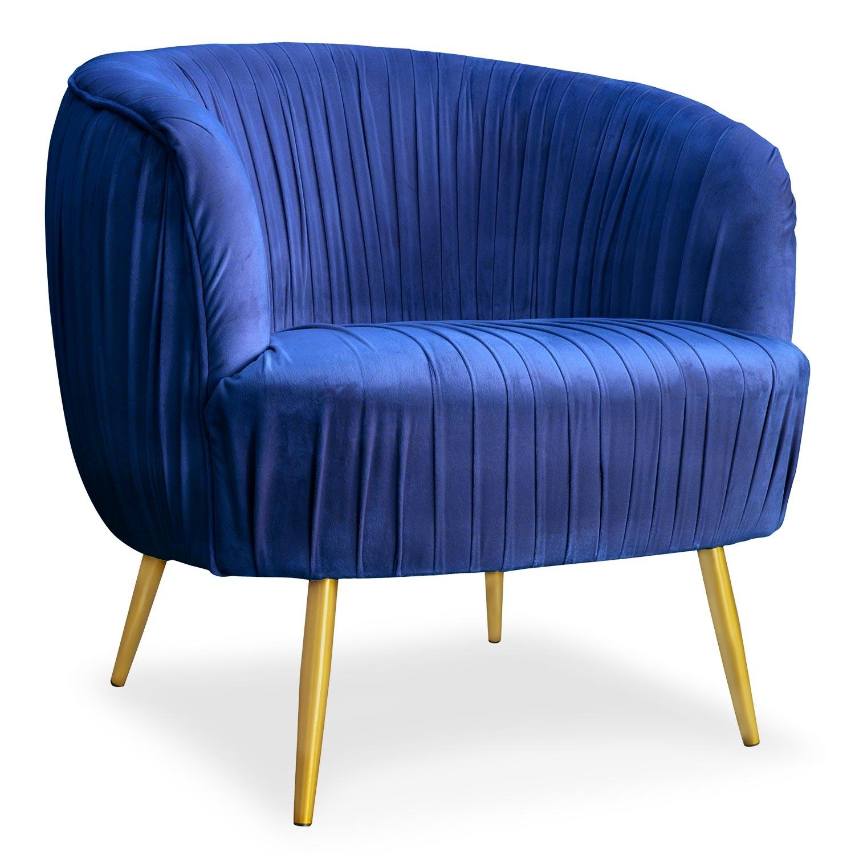 Fauteuil velours bleu pieds métal or