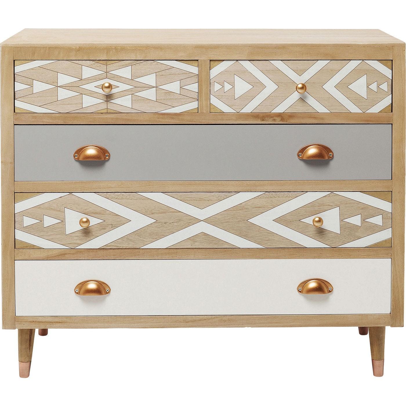Commode 5 tiroirs en pin motifs géométriques gris et blanc