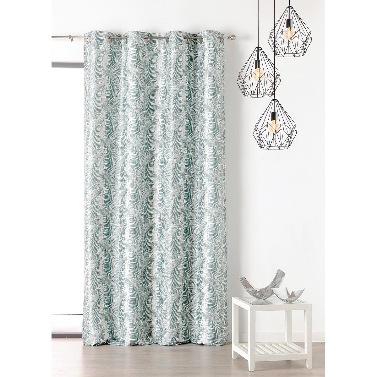 Rideau à oeillets aux motifs palmes polyester bleu 250x145