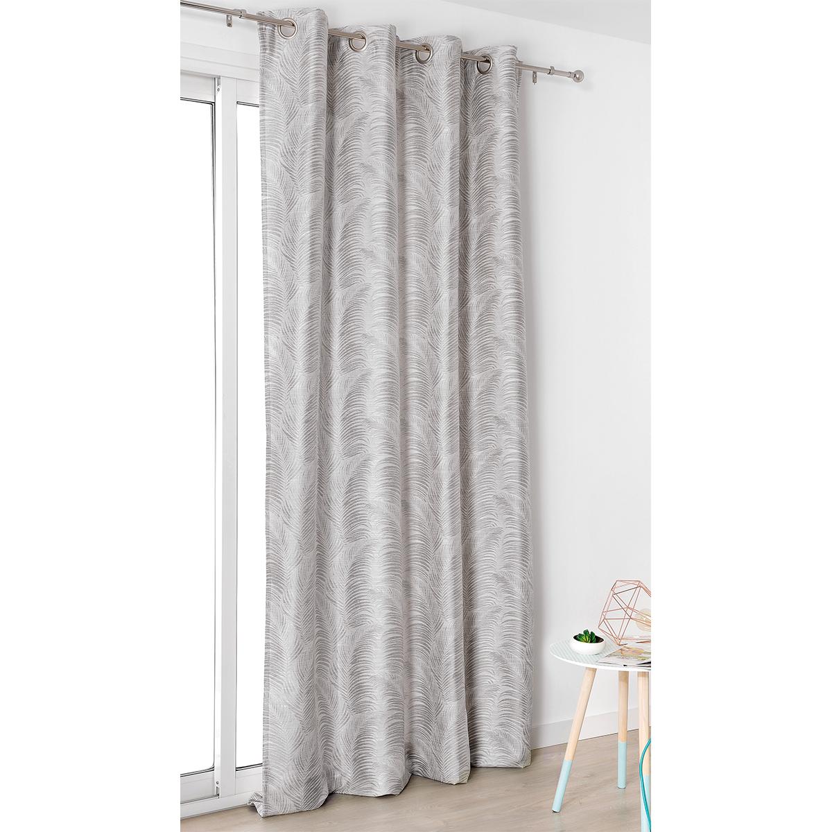 Rideau à oeillets aux motifs palmes polyester gris clair 250x145