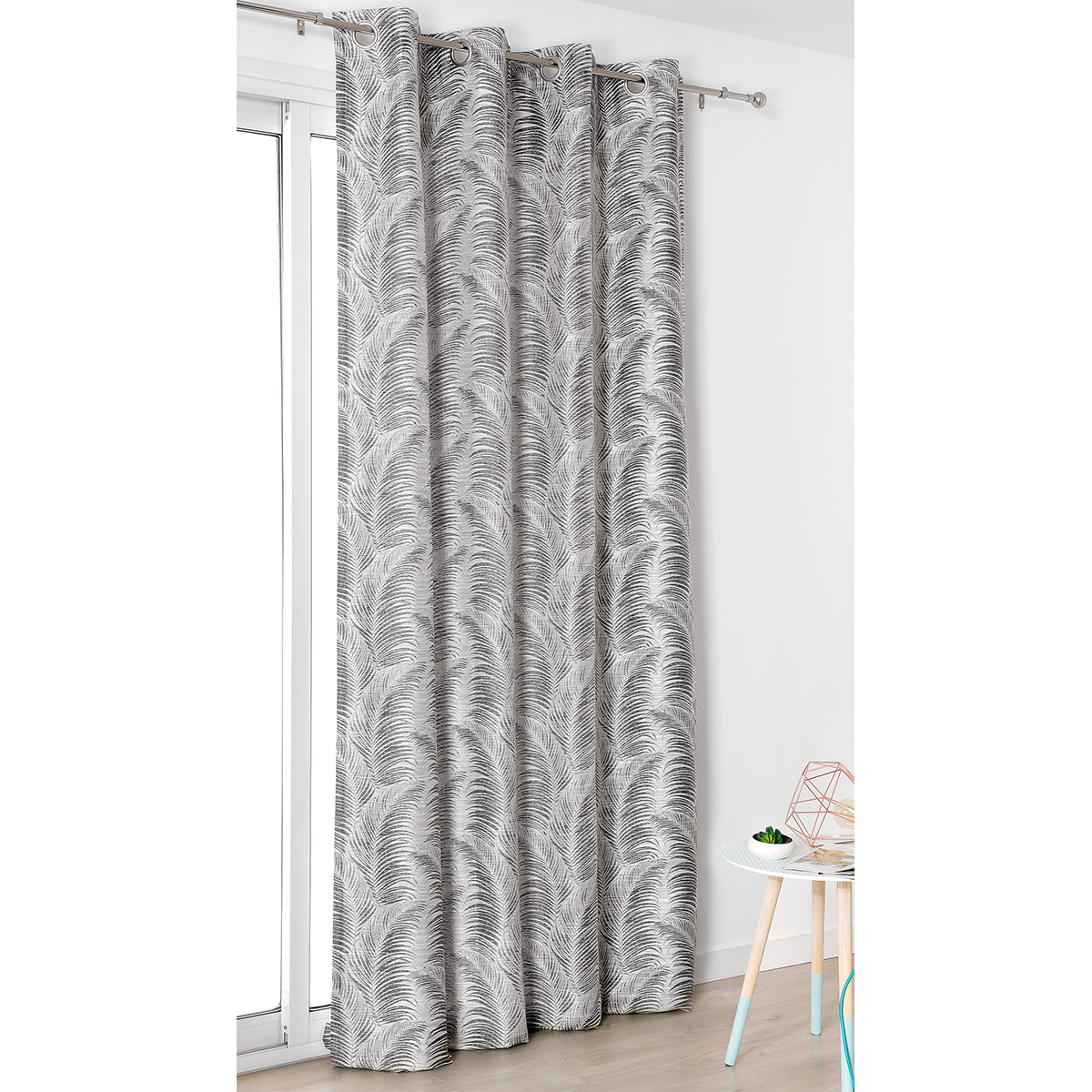 Rideau à oeillets aux motifs palmes polyester gris anthracite 250x145