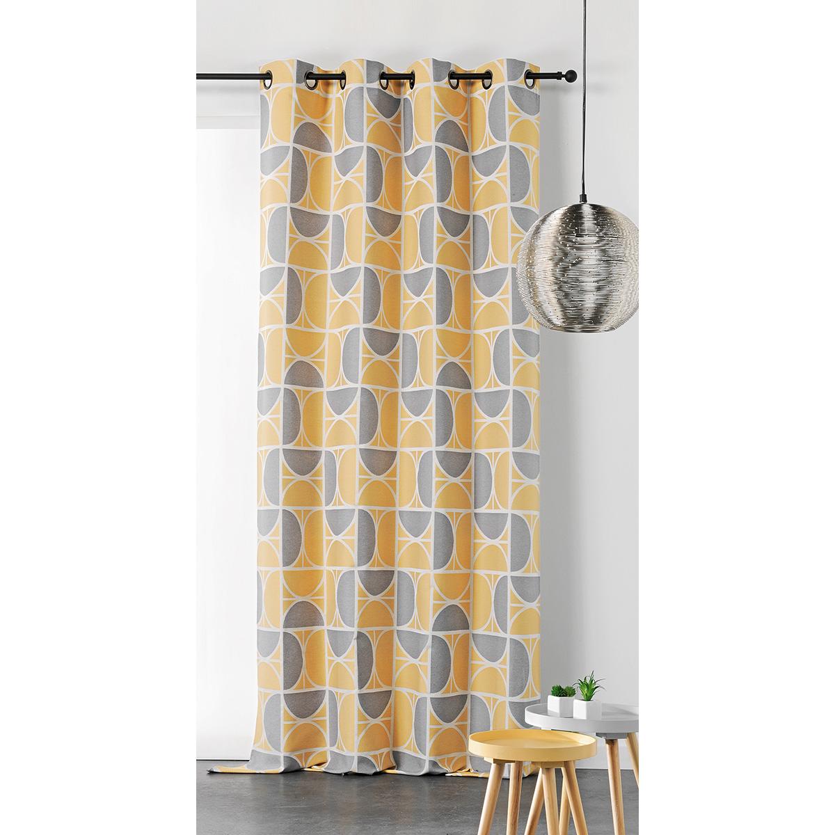 Rideau upcyclé aux impressions seventies polyester jaune 250x145