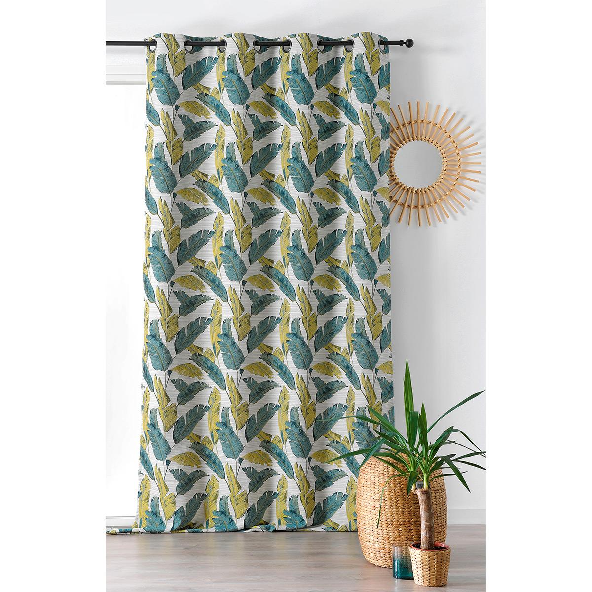 Rideau tamisant à motif plumes polyester vert 280x135