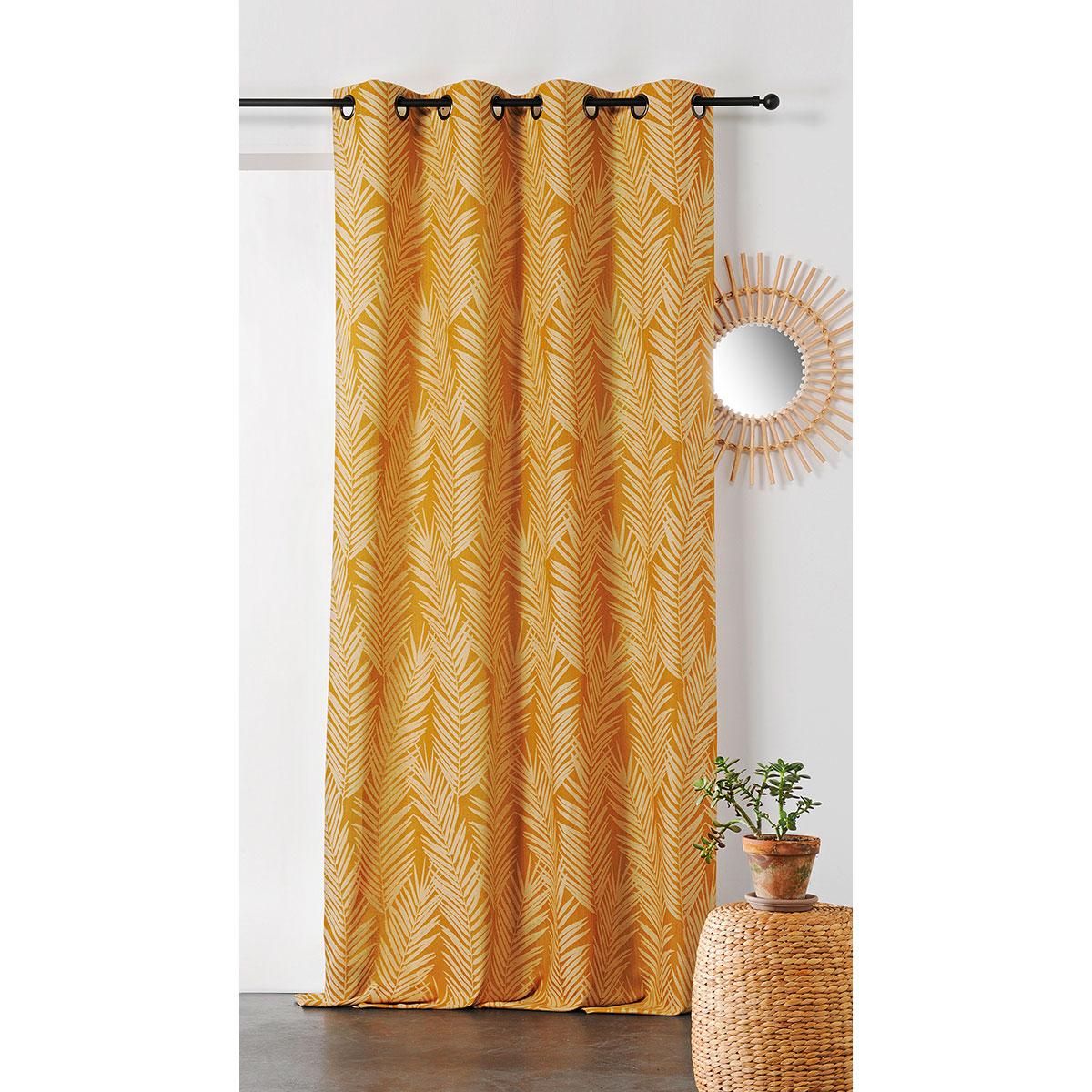 Rideau imprimé feuille de palmier coton jaune 240x140