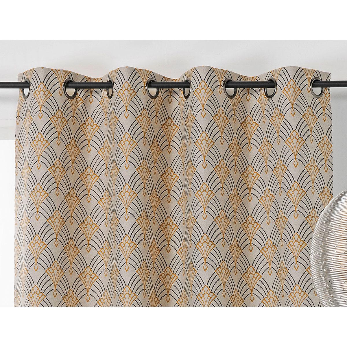 Rideau art décoratif en jacquard polyester jaune 245x140