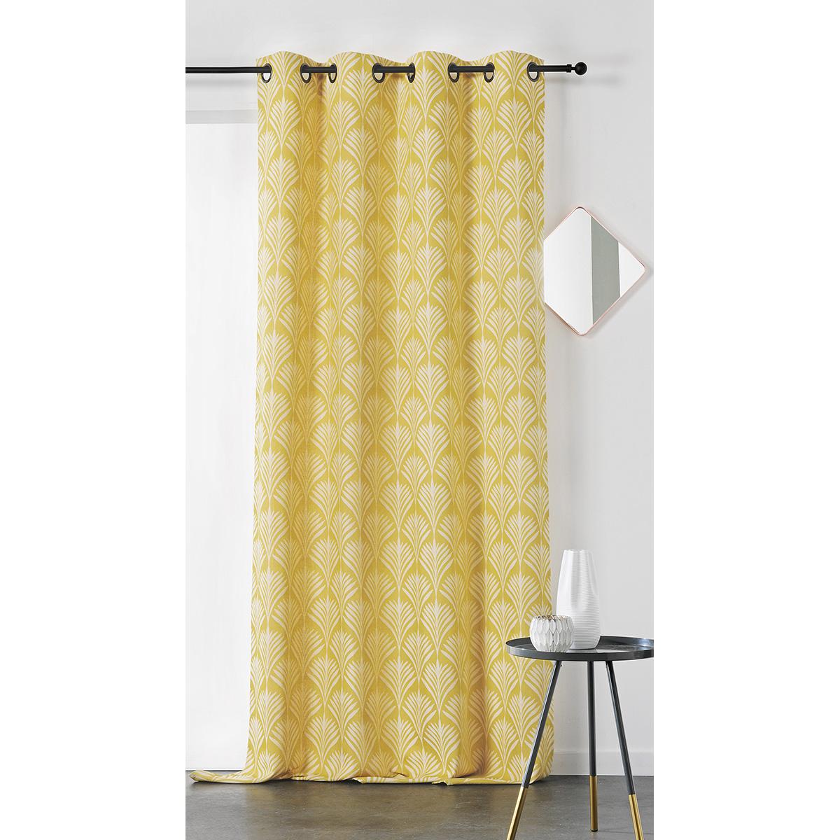 Rideau esprit art nouveau coton jaune 240x140