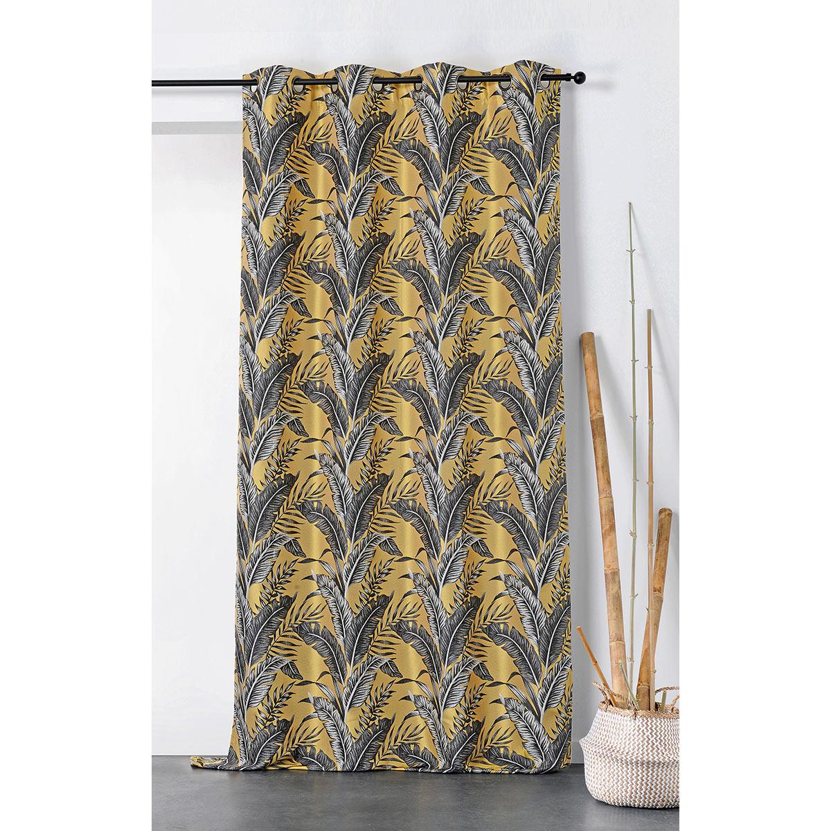 Rideau tendance aux impressions exotiques polyester jaune 245x135
