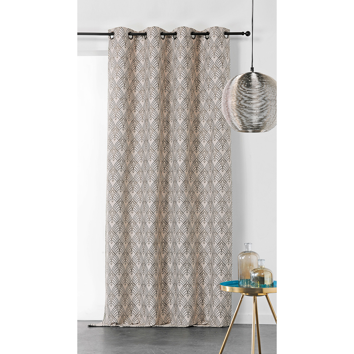 Rideau art décoratif en jacquard polyester beige 245x140