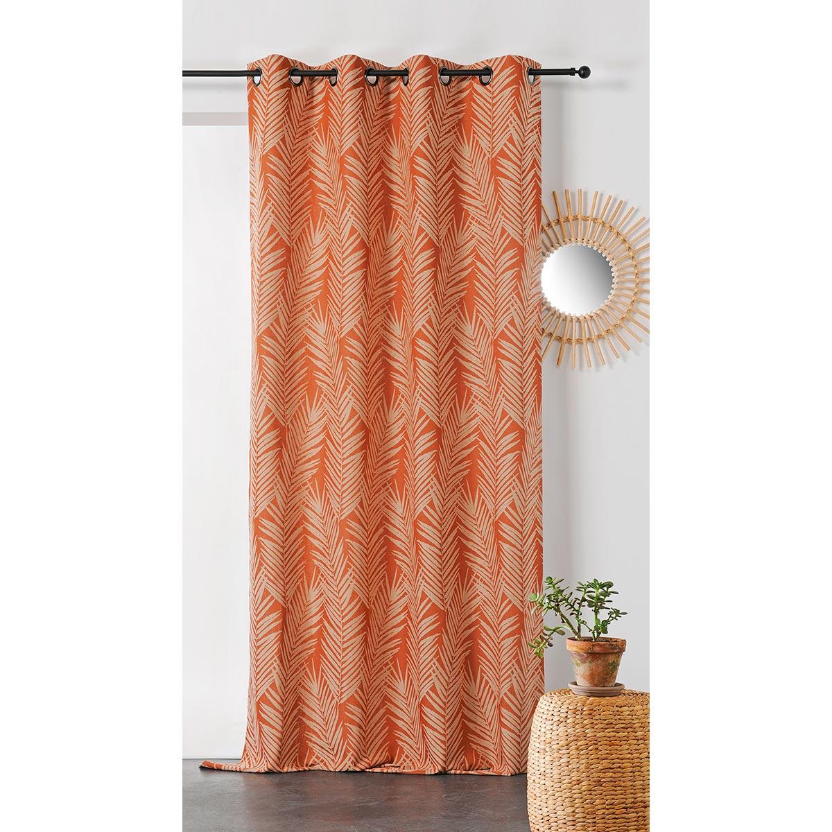 Rideau imprimé feuille de palmier coton orange 240x140