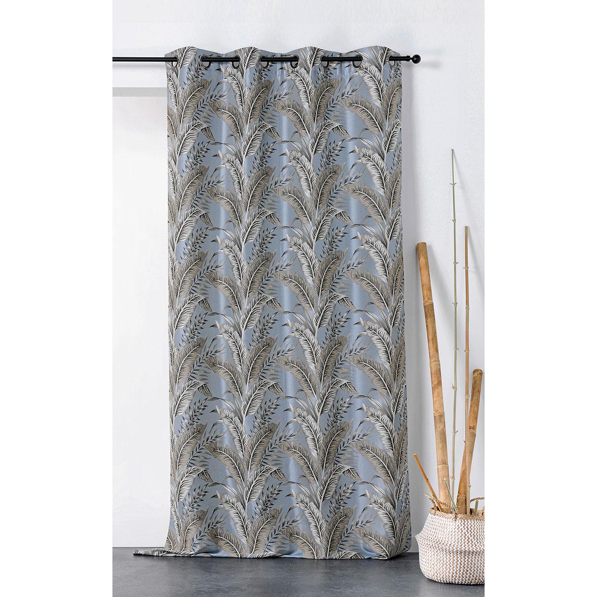 Rideau tendance aux impressions exotiques polyester bleu 245x135