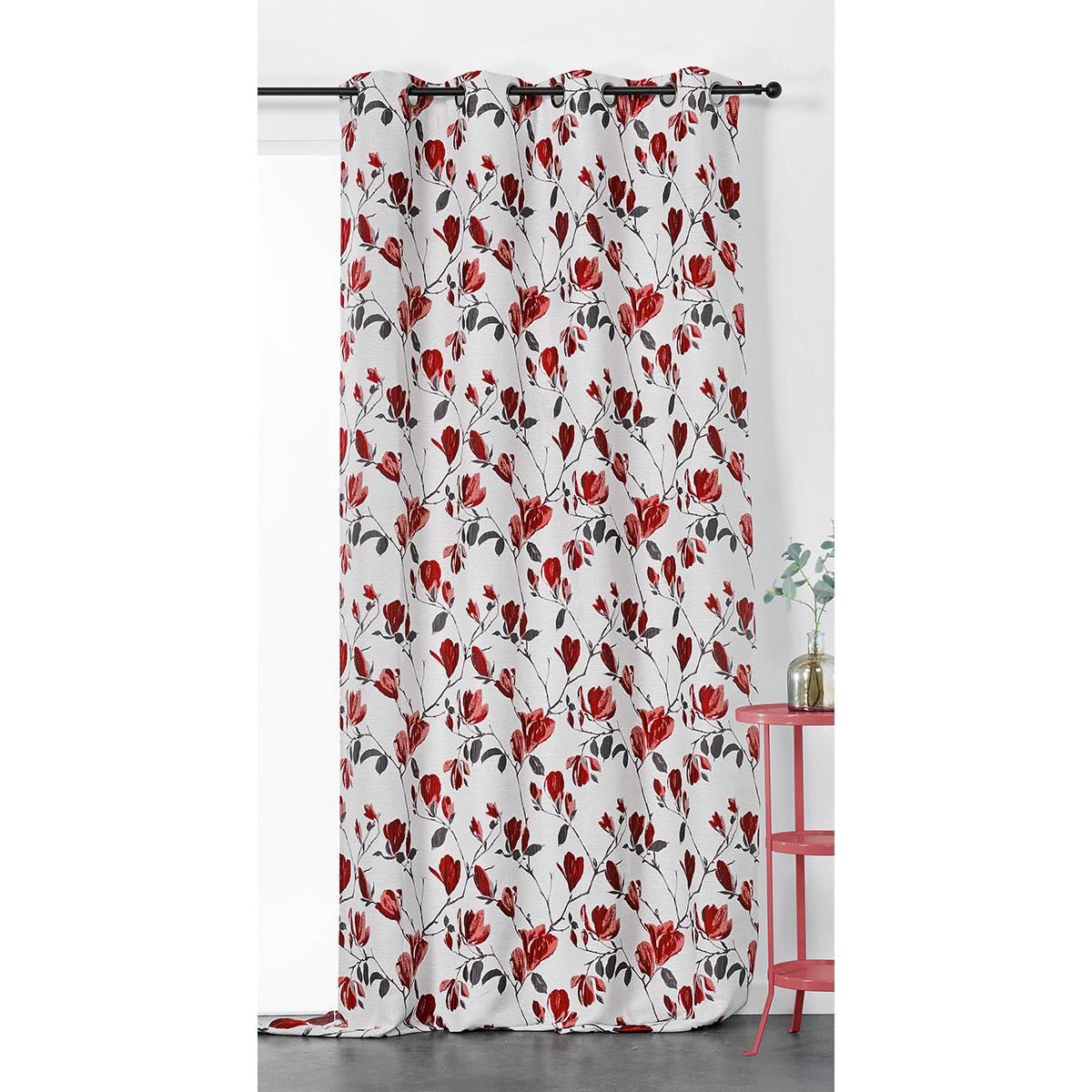 Rideau tamisant et imprimé magnolia polyester bordeaux 250x135